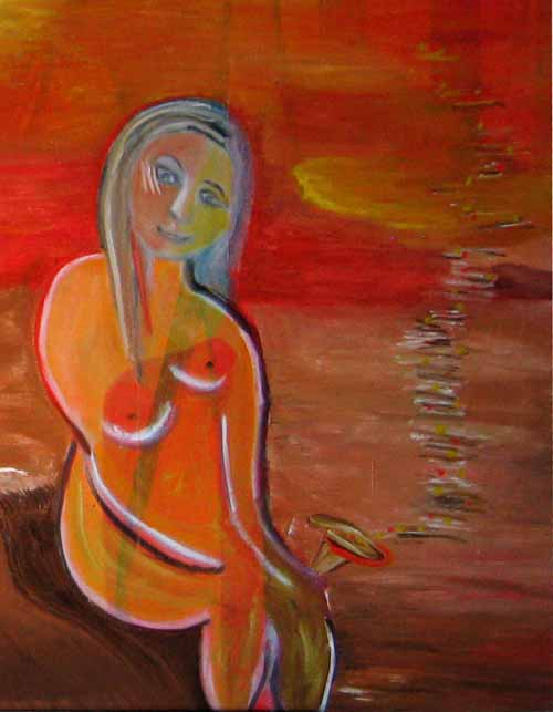 Am Strand Oil on canvas 2013 von Iris Greiner