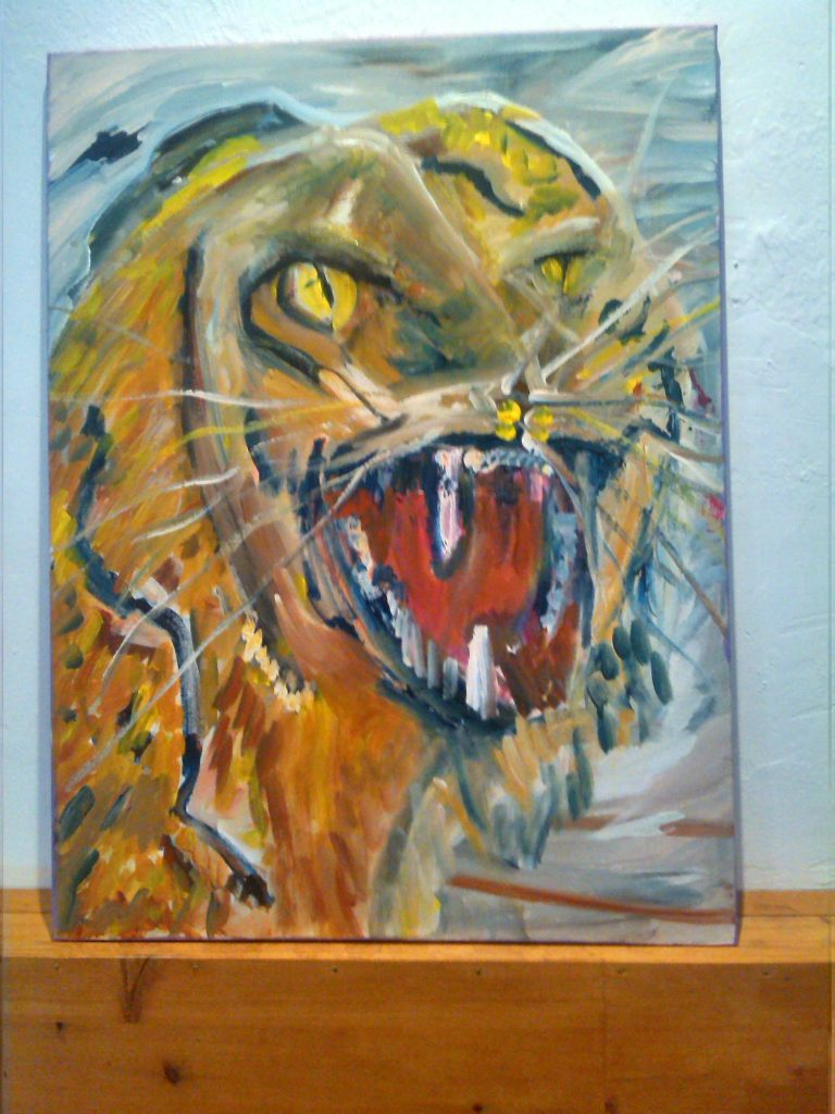 Tiger painting mixed media